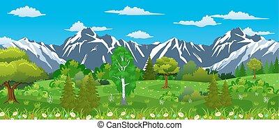 verão, paisagem natureza, com, montanhas