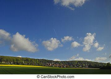 verão, paisagem, sob, céu azul