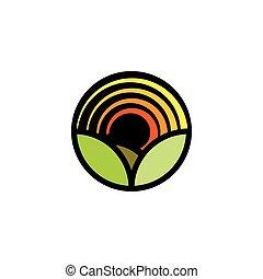 verão, panorama., prado, logotype., luminoso, paisagem, flor, isolado, cor ambiente, logo., natureza, campo, pétalas, caricatura, natural, folhas, forma, verde, pôr do sol, icon., redondo