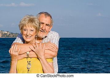 verão, par, aposentado, férias, amando