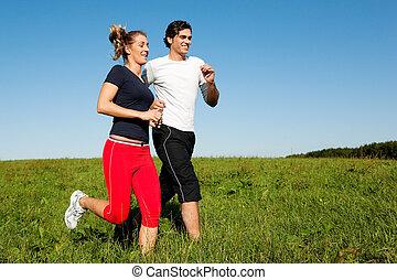 verão, par, desporto, sacudindo, ao ar livre