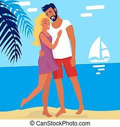 verão, par, isolado, abraçando, encantador, praia
