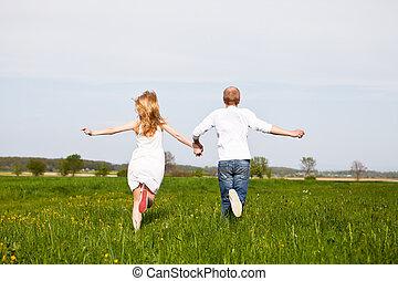 verão, par, jovem, divirta, feliz