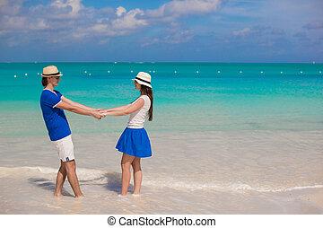 verão, par, jovem, férias, divirta, feliz