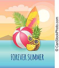verão, para sempre, painél publicitário, bandeira, vetorial, partido, praia