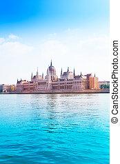verão, parlamento, rio danúbio, tempo