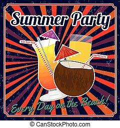 verão, partido, cartaz, vindima