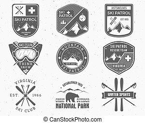 verão, patrulha, expedição, graphic., etiquetas, logotipo, remendo, design., montanha, inverno, selo, set., hipster, impressão, esqui, snowboarding, teia, turismo, badges., acampamento, emblem., vetorial, ao ar livre, ajuda, ou, primeiro