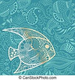 verão, peixe, fundo, ouro