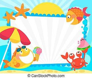 verão, peixe, quadro