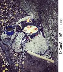 verão, pequeno almoço, cozinhar, campfire, camp.