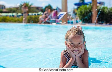 verão, pequeno, aquapark, férias, durante, menina