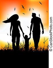 verão, pequeno, família, passeio, campo, bebê
