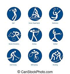 verão, pictograms, esportes