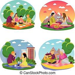 verão, piquenique, acampamento, família, ícones, parque, apartamento, vetorial, ilustração, recreation.