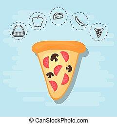 verão, piquenique, família, pizza