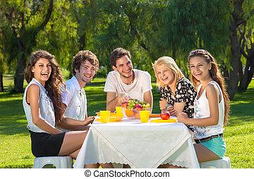 verão, piquenique, saudável, adolescentes jovens, desfrutando