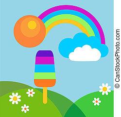verão, prado, coloridos, arco íris, sorvete