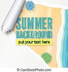 verão, praia, com, areia, surfar, e, praia, umbrellas., fundo, com, rasgado, e, torcido, paper., em branco, anunciando, cartaz