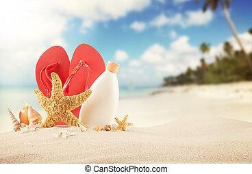 verão, praia, com, vermelho, sandálias, e, conchas