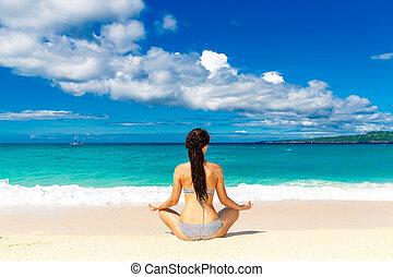 verão, praia., concept., jovem, férias, tropicais, menina