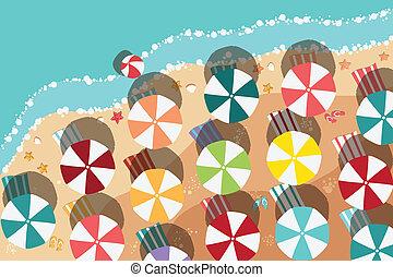 verão, praia, em, apartamento, desenho