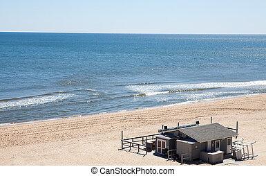verão, praia, ilha, cinzento, longo, casa, praia