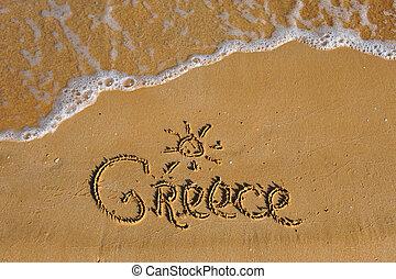 verão, praia, palavra, arenoso, grécia
