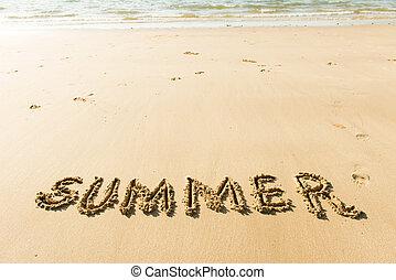 verão, praia, palavra