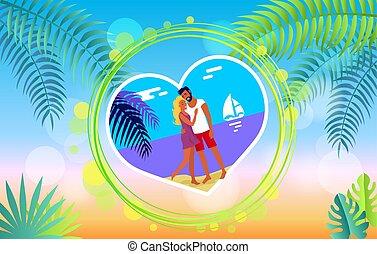 verão, praia, par abraçando, romance, encantador, bandeira