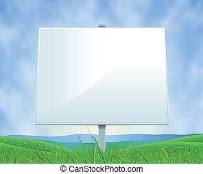 verão, primavera, billboard, branca, ou, paisagem