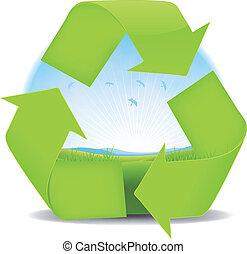 verão, primavera, recicle, bandeira, ou, paisagem
