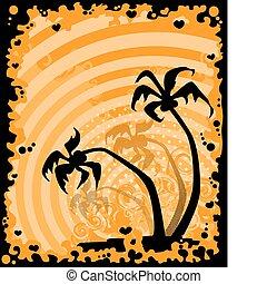 verão, quadro, árvore palma