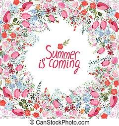 verão, quadro, com, contorno, flores