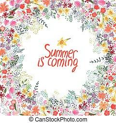 verão, quadro, com, contorno, flowers.