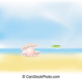 verão, quadro, praia