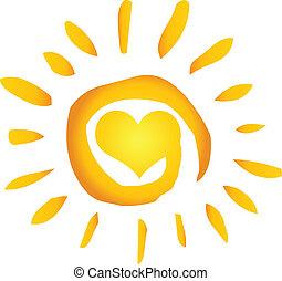 verão, quentes, abstratos, sol, com, coração
