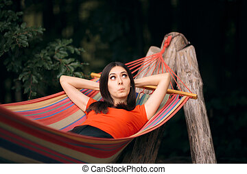 verão, rede, mulher, férias, relaxante
