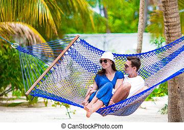 verão, relaxante, férias par, rede, feliz