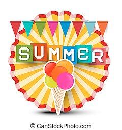 verão, retro, label., vindima, círculo alaranjado, adesivo, com, bandeiras, coloridos, verão, título, e, gelo, cream.
