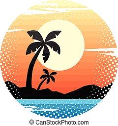 verão, símbolo, feriados, sinal praia