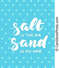 verão, sal, ar, cabelo, areia, meu, cartão