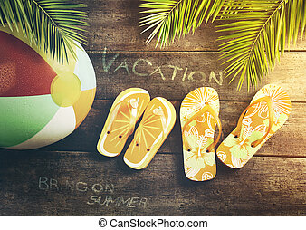 verão, sandálias, com, esfera praia, ligado, madeira, fundo