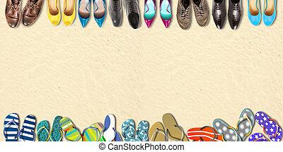 verão, sapatos, feriados