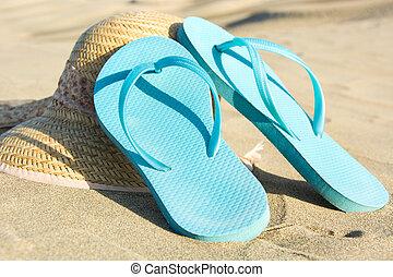 verão, sapatos, ligado, duna