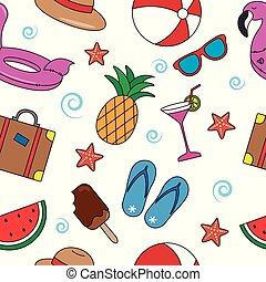 verão, seamless, coloridos, padrão