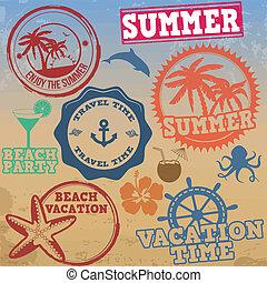 verão, selos, jogo, férias