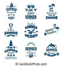 verão, set., vetorial, emblema