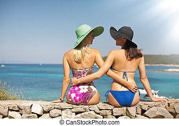 verão, shapely, meninas, praia