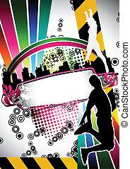 verão, silueta, pessoas urbanas, pular, grunge, composição
